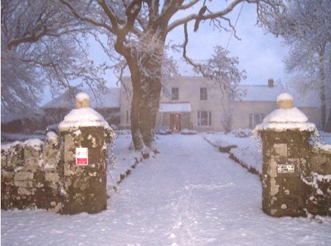 Haroldston Hall in the snow